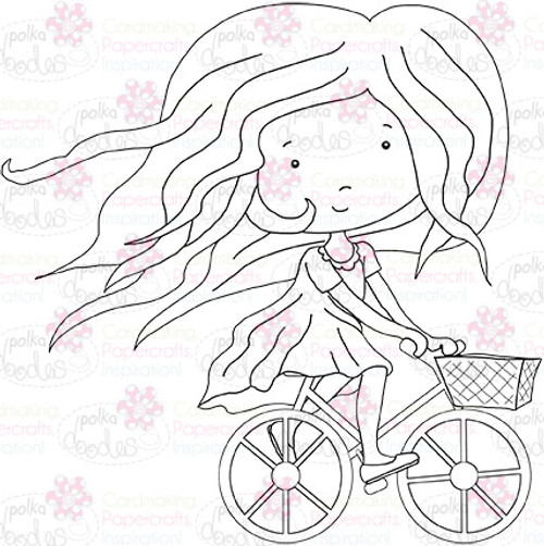 Cycling Girl  digital stamp download