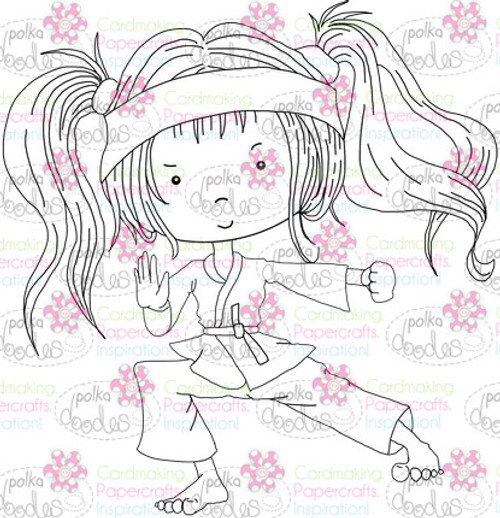 Karate Martial Arts girl digital stamp download printable