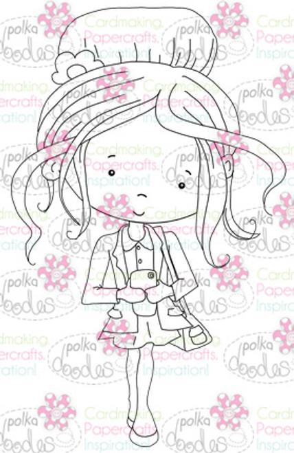 Phone/Texting girl digital stamp download