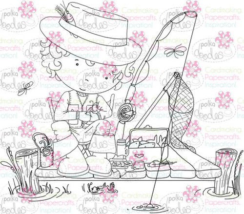 Fishing digital stamp download