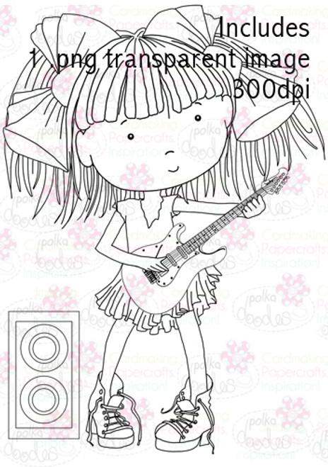 Guitar Girl digital stamp download