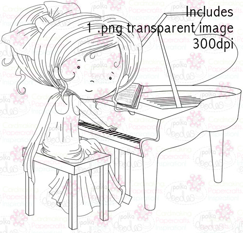 Piano Girl digital stamp download