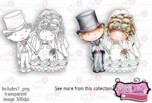Bride & Groom Digital Craft Stamp download