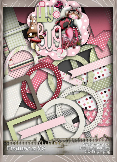 Lily Bug Love frames bundle kit (33 elements) - Digital Stamp CRAFT Download