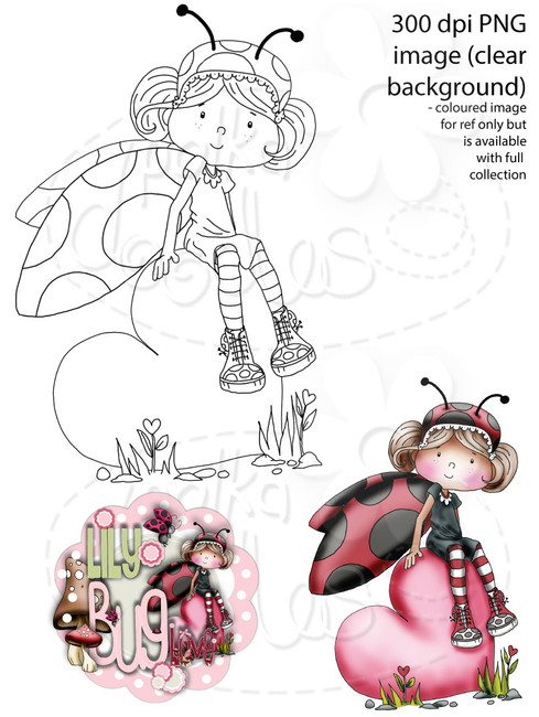 Lily Bug Love Big Heart   - Digital Stamp CRAFT Download