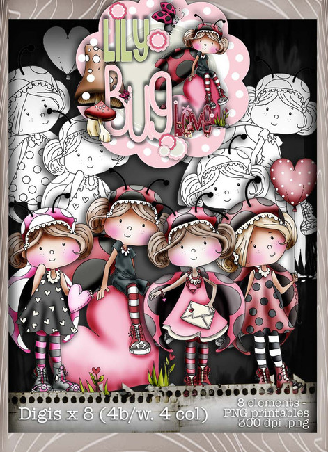 Lily Bug Love Download Kit Collection  - Digital Stamp CRAFT Download