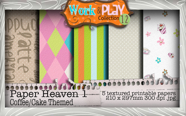 Work & Play 12 Paper Heaven 1 bundle kit - Coffee/cake (5 papers)