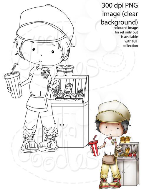 Fast Food/Waiter/burger Digital Stamp - Digital Stamp Craft Scrapbooking Download