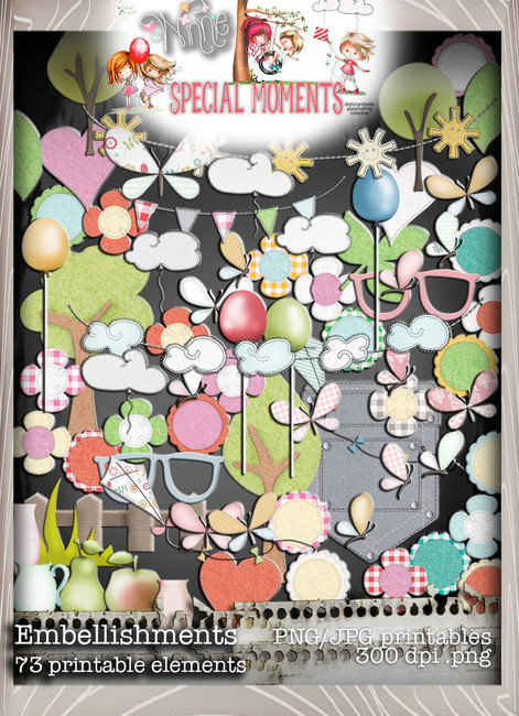 Embellishments - Winnie Special Moments...Craft printable download digital stamps/digi scrap kit