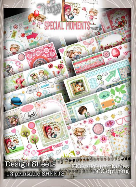 Design Sheets - Winnie Special Moments...Craft printable download digital stamps/digi scrap kit