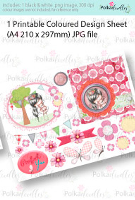 Girl with Teddy Bear friend. Coloured Card making Design Sheet - Winnie Special Moments...Craft printable download digital stamps/digi scrap kit