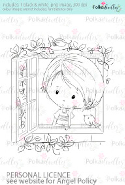 Boy thinking, contemplating, looking out of window coloured digital stamp/clipart- Winnie Special Moments...Craft printable download digital stamps/digi scrap kit