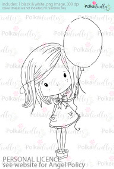 Red Balloon girl coloured digital stamp/clipart- Winnie Special Moments...Craft printable download digital stamps/digi scrap kit