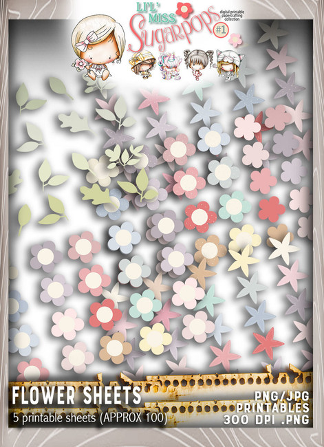 Flower sheets - Lil Miss Sugarpops Kit 1...Craft printable download digital stamps/digi scrap kit