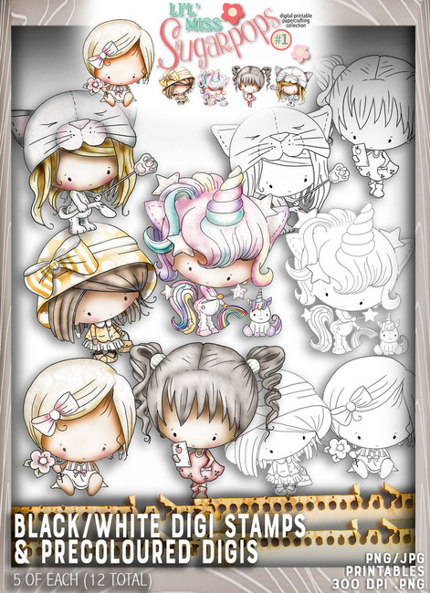 10 Digi Stamps (5 black/white plus 5 pre coloured) - Lil Miss Sugarpops Kit 1...Craft printable download digital stamps/digi scrap kit