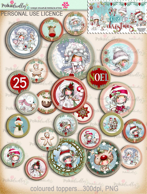 45+ Printable Christmas Topper Embellishments - Winnie White Christmas...Craft printable download digital stamps/digi scrap