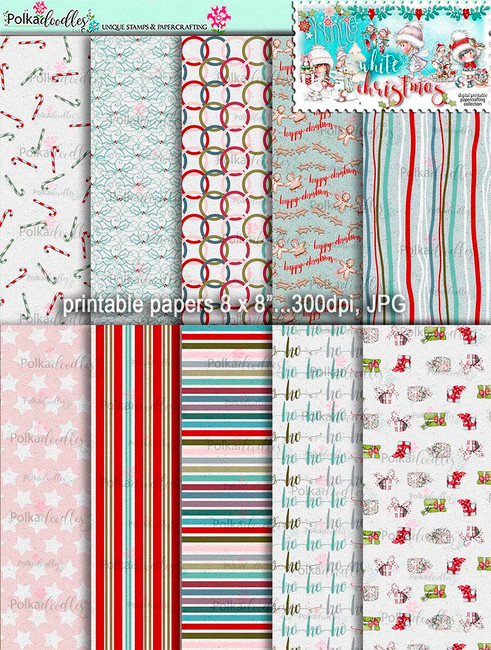 Printable Papers 3 - Winnie White Christmas digi downloads