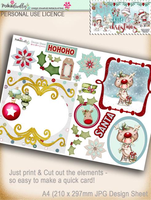 Printable Christmas Design Sheet/toppers - Winnie White Christmas...Craft printable download digital stamps/digi scrap