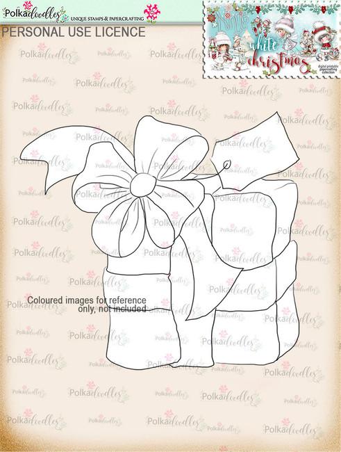 Gift Digital Stamp download - Winnie White Christmas printables...Craft printable download digital stamps/digi scrap
