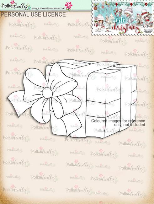 Christmas Gift Digital Stamp download - Winnie White Christmas printables...Craft printable download digital stamps/digi scrap