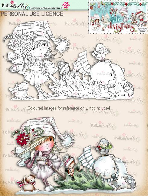 Buying the Tree  - Digital Stamp download. Winnie White Christmas printables.Craft printable download digital stamps/digi scrap