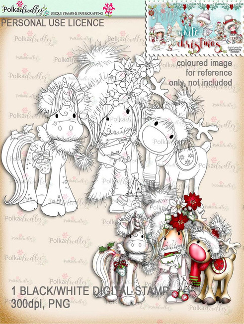 Rudolph & Holly the Christmas Unicorn - Digital Stamp download. Winnie White Christmas printables.Craft printable download digital stamps/digi scrap