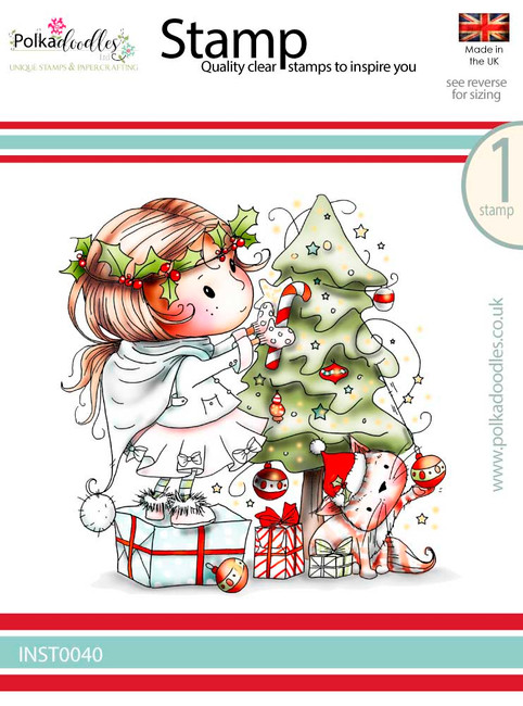 Winnie Decorating the Tree - Winnie White Christmas Clear Polymer Stamp.