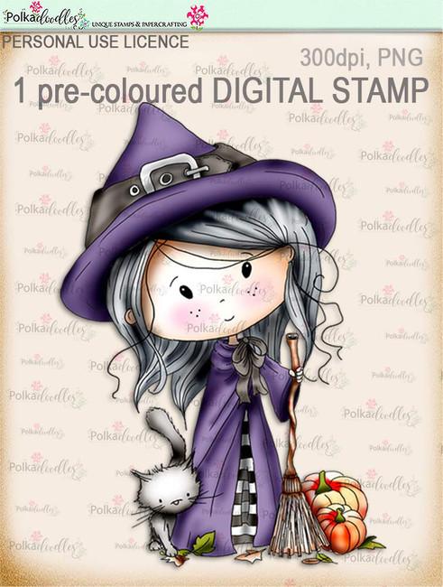 Winnie Wednesday Witch - Digital Stamp download printable clipart. Craft printable download digital stamps/digi scrap