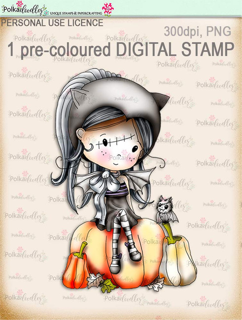 Winnie Wednesday Bat girl - Digital Stamp download printable clipart. Craft printable download digital stamps/digi scrap