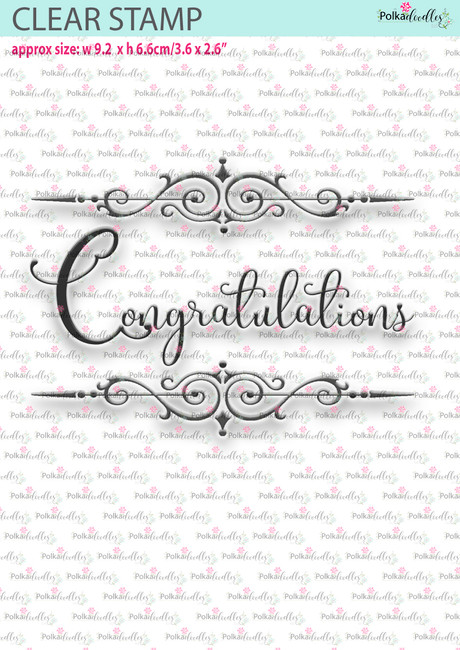Congratulations - Large clear craft stamp.