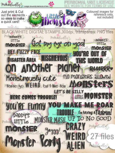 Little Monsters messages digi scrap kit download