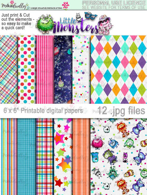 Little Monsters printable papers digi kit download