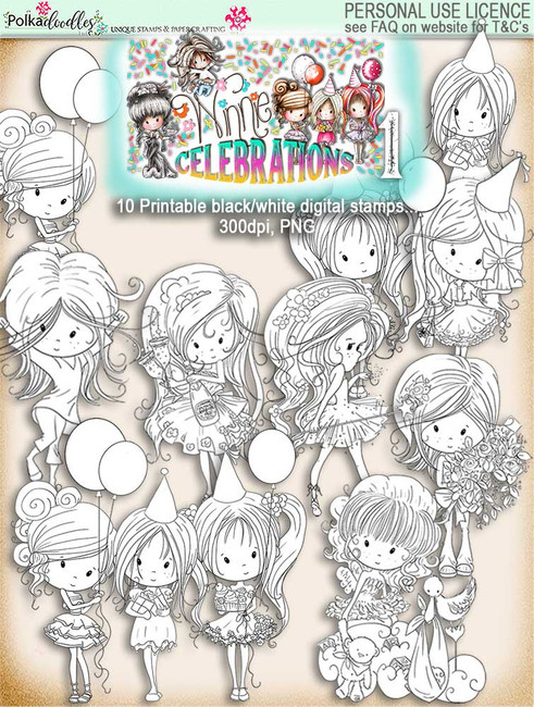 Winnie Celebrations 1... 10 digi stamps - digi scrap kit download digital printables. High quality 300dpi.