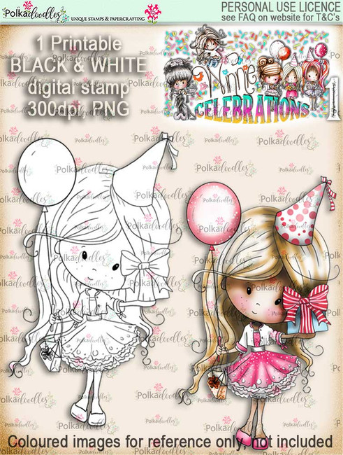 Winnie Celebrations 1...Birthday Balloon digi stamp printable download