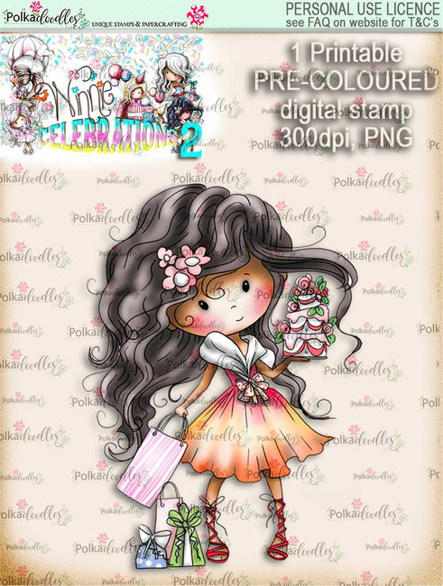 Winnie Celebrations 2...Cake time!  COLOURED digi stamp printable download
