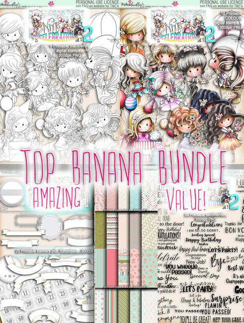 Winnie Celebrations 2...Top Banana bundle, mega value kit of digi stamps, papers, sentiments, banners & numbers printable downloads