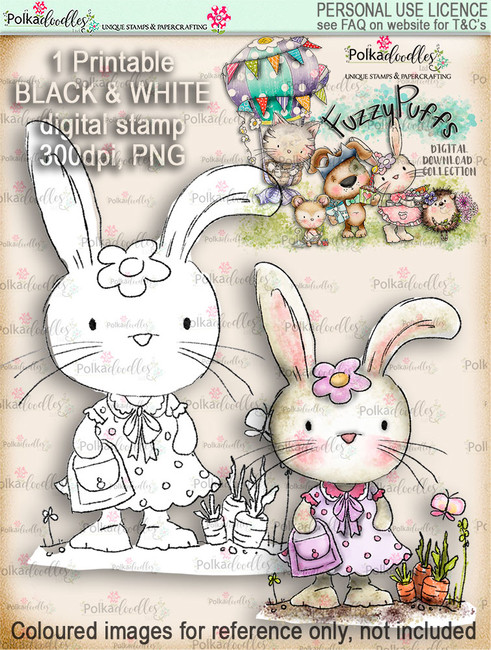 Bunnita Shopping - Fuzzypuffs digi stamp printable download