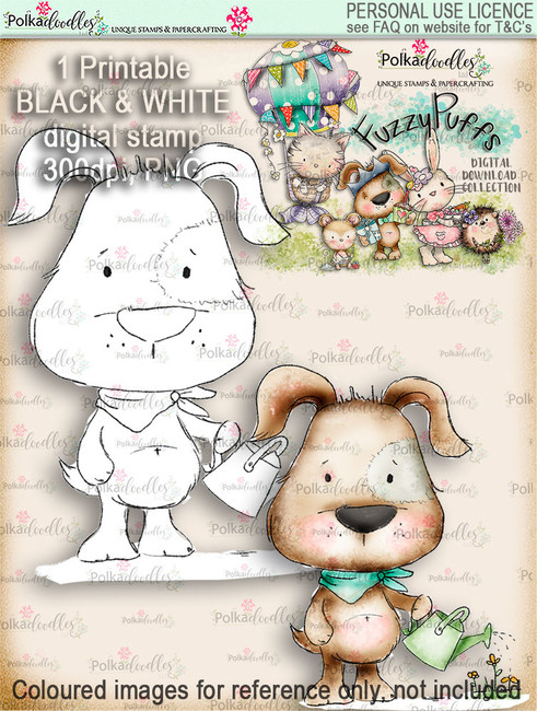 Scruff Gardening - Fuzzypuffs digi stamp printable download