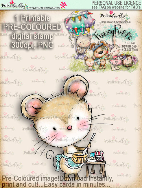 Maisie Mouse Baking a Cake - Fuzzypuffs COLOUR digi stamp printable download