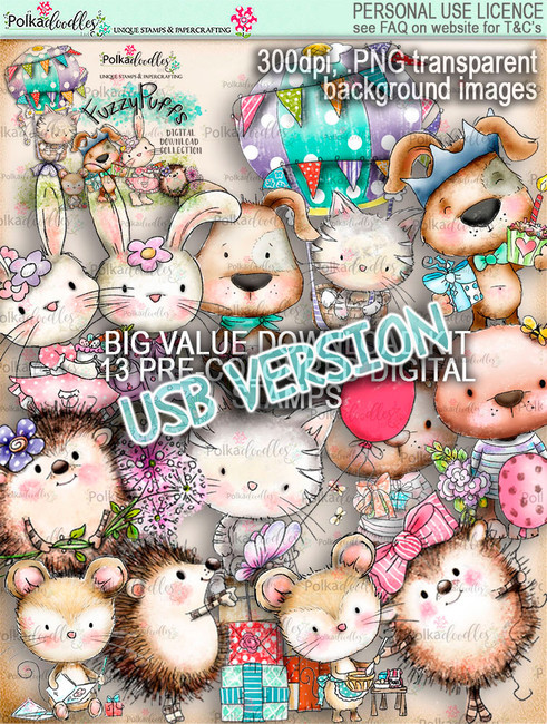 Fuzzypuffs USB digi stamp BIG VALUE USB kit