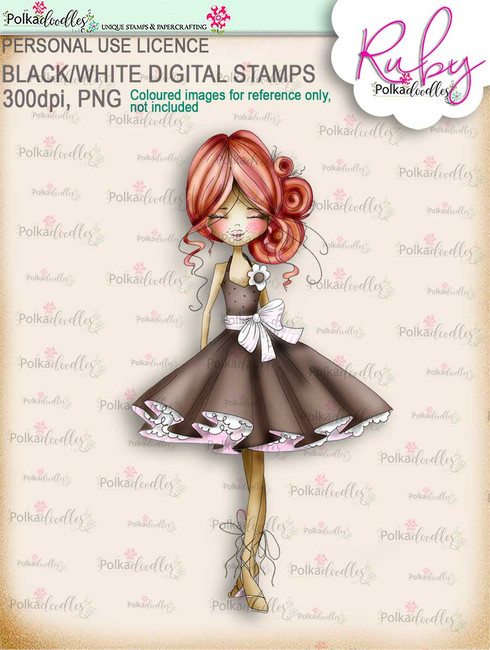 Ruby Sweet - COLOUR digi stamp printable download