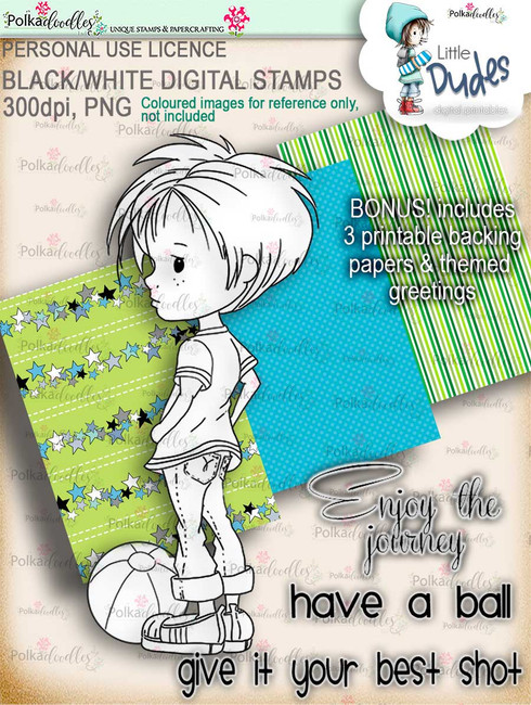 Play Ball, dude - digi stamp printable download