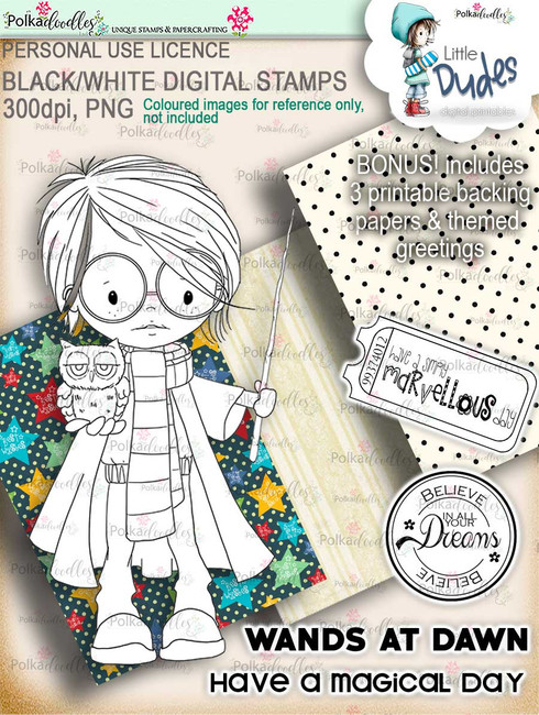 Wizardy Magic Little Dude - digi stamp printable download