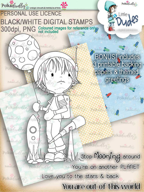 Astronaut Little Dude - digi stamp printable download