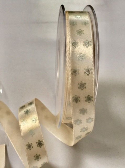 Pearl Satin with Silver Snowflakes ribbon x 1 metre 15mm