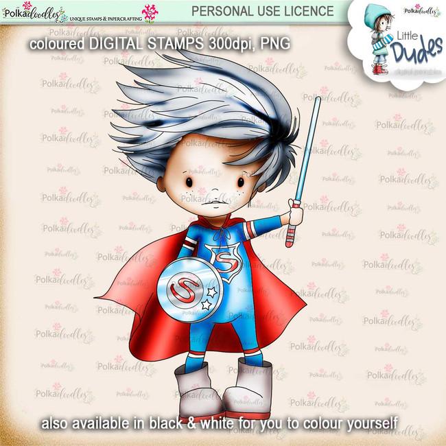 Superhero - PRECOLOURED - Little Dudes digi stamp printable download