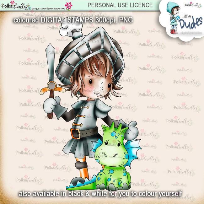 Knight & Dragon - PRECOLOURED - Little Dudes digi stamp printable download