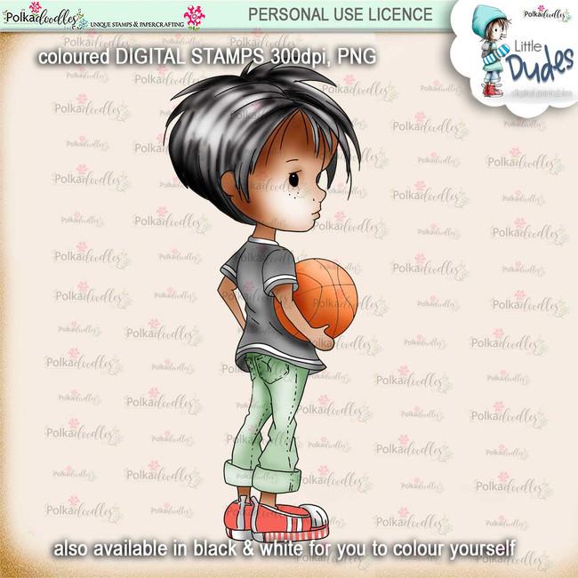 Basketball 5 - PRECOLOURED Little Dudes digi stamp printable download