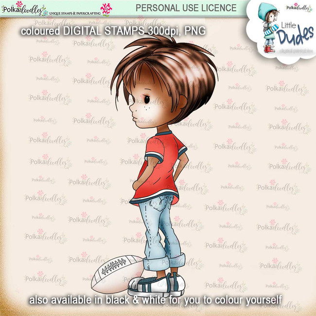 Rugby/Football 2 - PRECOLOURED - Little Dudes digi stamp printable download
