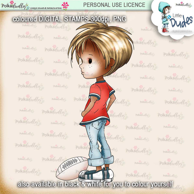Rugby/Football 3 - PRECOLOURED - Little Dudes digi stamp printable download